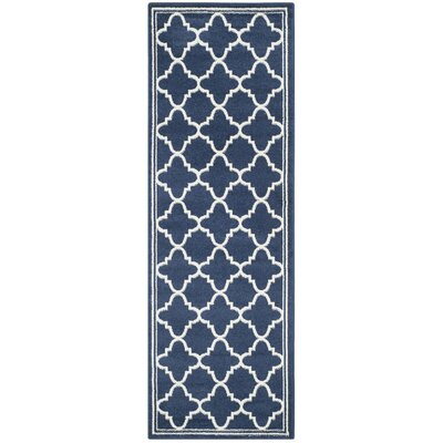 Maritza Geometric Navy/Beige Indoor/Outdoor Woven Area Rug Rug Size: Runner 23 x 7