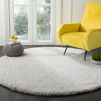 Otley White/Light Gray Area Rug Rug Size: Round 53