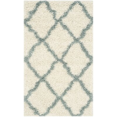 Charmain Ivory/Light Blue Area Rug Rug Size: Rectangle 3 x 5