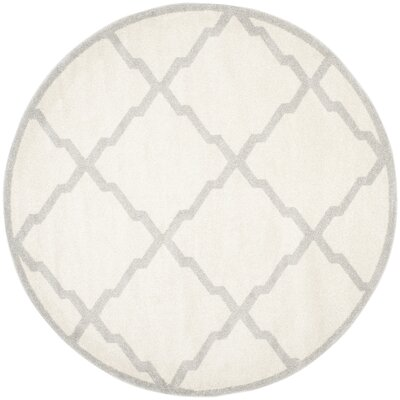 Maritza Geometric Beige/Light Grey Area Rug Rug Size: Round 7
