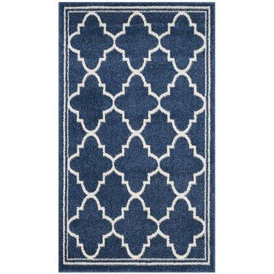 Maritza Geometric Navy/Beige Indoor/Outdoor Woven Area Rug Rug Size: Rectangle 2'6