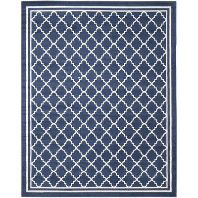 Maritza Geometric Navy/Beige Indoor/Outdoor Woven Area Rug Rug Size: Rectangle 8 x 10