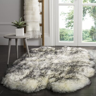 Dax Ivory / Smoke Gray Area Rug Rug Size: Rectangle 37 x 511