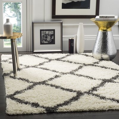 Charmain Ivory/Dark Gray Area Rug Rug Size: Rectangle 51 x 76