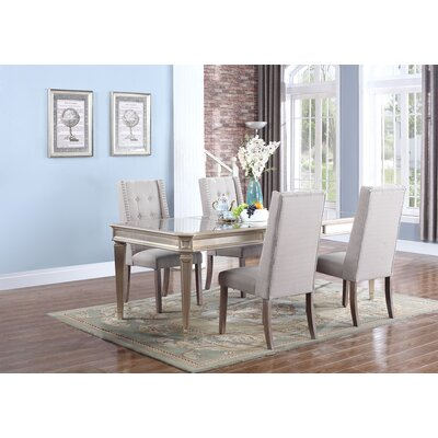 Brette 5 Piece Dining Set Upholstery Color: Taupe