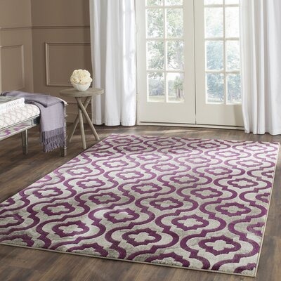 Manorhaven Light Gray/Purple Area Rug Rug Size: Rectangle 52 x 76