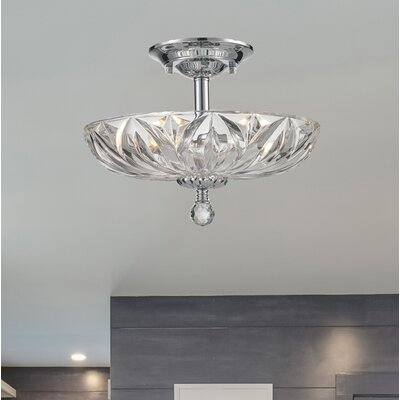 Aadvik 4-Light Semi-Flush Mount Crystal Color: Clear