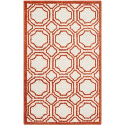 Maritza Ivory/Orange Indoor/Outdoor Area Rug Rug Size: Rectangle 2'6