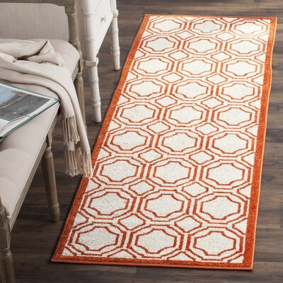Maritza Ivory/Orange Indoor/Outdoor Area Rug Rug Size: Runner 23 x 7