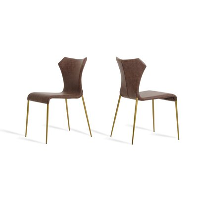 Johnsie Side Chair Finish: Cognac/Antique Brass
