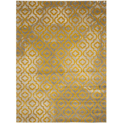 Manorhaven Light Gray/Yellow Area Rug Rug Size: Rectangle 82 x 11