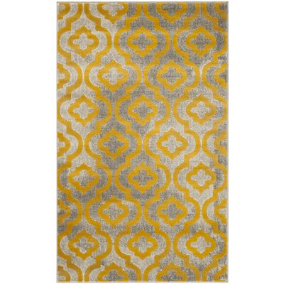 Manorhaven Light Gray/Yellow Area Rug Rug Size: Rectangle 3 x 5