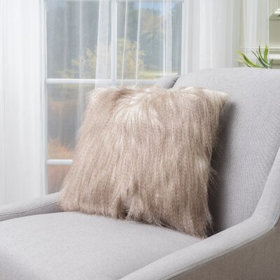 Gillian Faux Fur Throw Pillow Color: Cinnamon