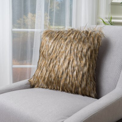 Gillian Faux Fur Throw Pillow Color: Saffron