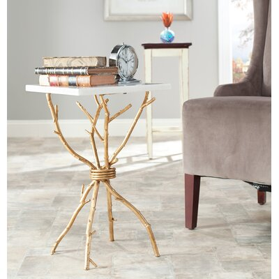 Noble End Table Color: White / Gold