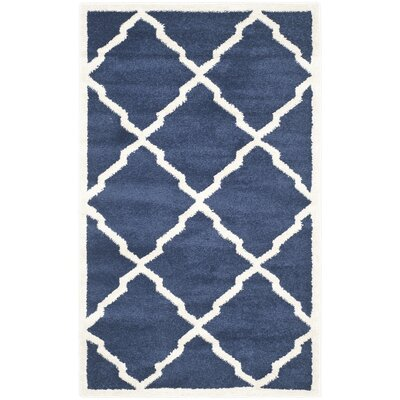 Maritza Navy/Beige Indoor/Outdoor Woven Area Rug Rug Size: Rectangle 3 x 5