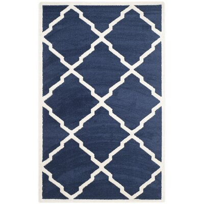Maritza Navy/Beige Indoor/Outdoor Woven Area Rug Rug Size: Rectangle 5 x 8