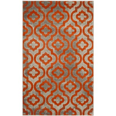 Manorhaven Light Gray/Orange Area Rug Rug Size: Rectangle 3 x 5