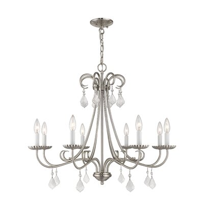 Devan 8-Light Candle-Style Chandelier Finish: Brushed Nickel