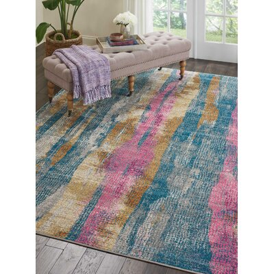 Langlais Blue/Pink Area Rug Rug Size: Rectangle 67 x 96