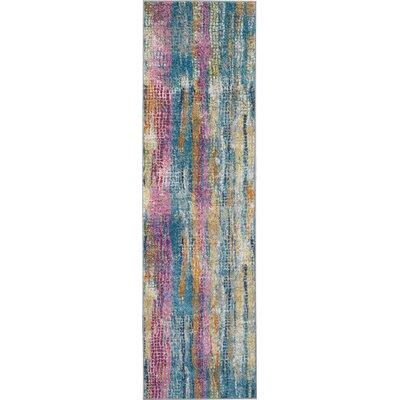 Langlais Blue/Pink Area Rug Rug Size: Runner 22 x 76