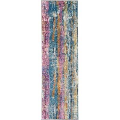 Langlais Blue/Pink Area Rug Rug Size: Runner 11 x 6