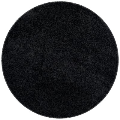 Beldon Power Loom Black Area Rug Rug Size: Round 67