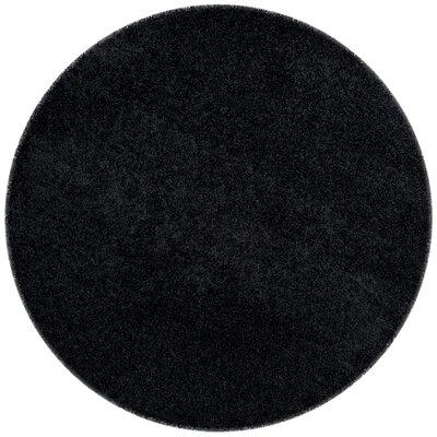 Beldon Power Loom Black Area Rug Rug Size: Round 6'7