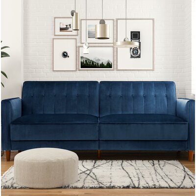 Hammondale Pin Tufted Convertible Sofa Upholstery: Blue Velvet