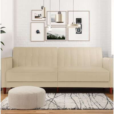 Hammondale Pin Tufted Convertible Sofa Upholstery: Tan Velvet
