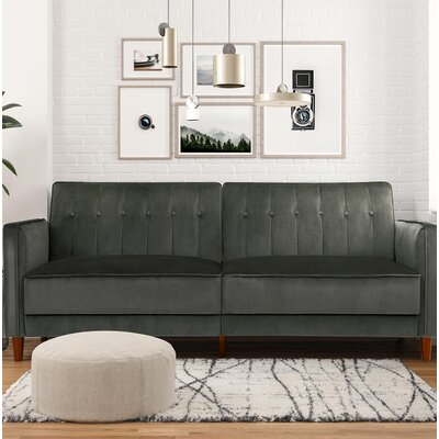 Hammondale Pin Tufted Convertible Sofa Upholstery: Gray Velvet