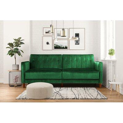Hammondale Pin Tufted Convertible Sofa Upholstery: Green Velvet