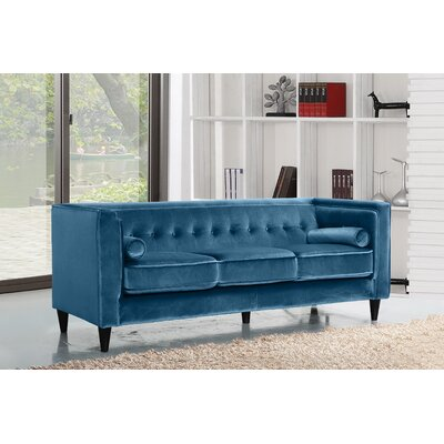 Roberta Velvet Chesterfield Sofa Upholstery: Light Blue