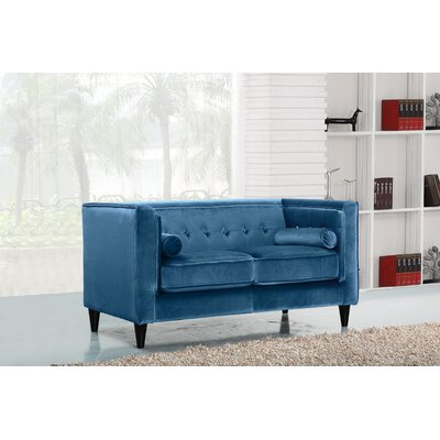 Roberta Chesterfield Loveseat Upholstery: Light Blue