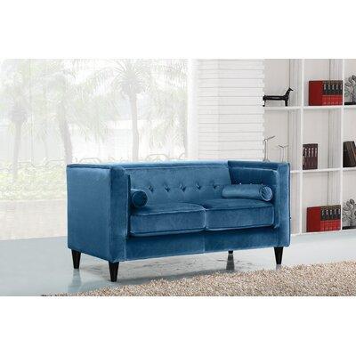 Roberta Velvet Chesterfield Loveseat Upholstery: Light Blue