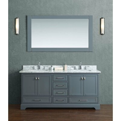 Stian 72 Double Sink Bathroom Vanity Set with Mirror Base Finish: Gray