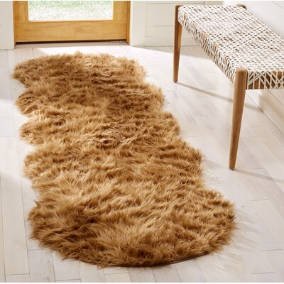Isacc Hand-Tufted�Faux Fur Brown/Tan Area Rug Rug Size: Runner 26 x 6