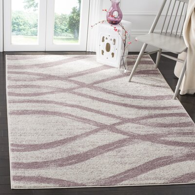 Marlee Cream/Purple Area Rug Rug Size: Rectangle 51 x 76