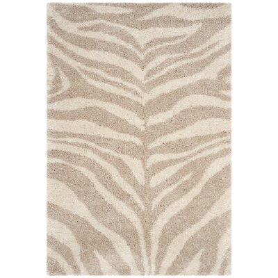 Blumefield Shag Ivory/Beige Area Rug Rug Size: Rectangle 51 x 76