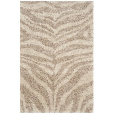 Blumefield Shag Ivory/Beige Area Rug Rug Size: Rectangle 4 x 6