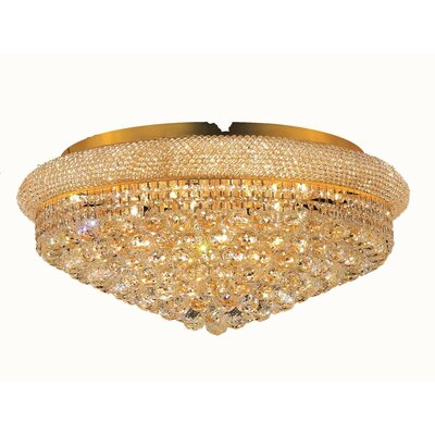 Jessenia 15-Light Flush Mount Finish: Gold, Crystal Grade: Elegant Cut