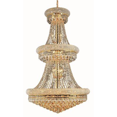 Jessenia Glam 32-Light Chain Crystal Chandelier Size / Finish / Crystal Trim: 30 / Gold / Royal Cut