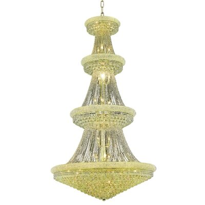Jessenia 42-Light Chain Crystal Chandelier with Canopy Finish: Gold, Crystal Grade: Royal Cut