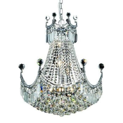 Kasha 9-Light Empire Chandelier Finish: Chrome, Crystal Trim: Elegant Cut