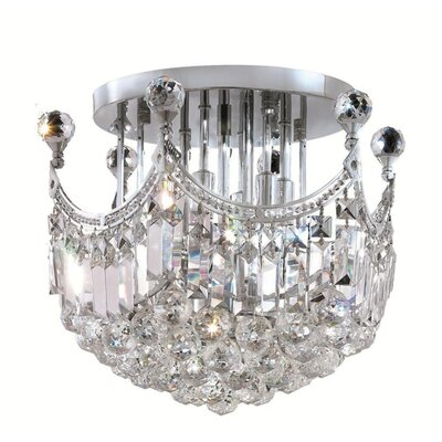 Kasha 6-Light Semi Flush Mount Finish: Chrome, Crystal Grade: Royal Cut