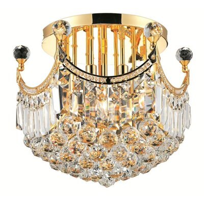 Kasha 6-Light Semi Flush Mount Finish: Gold, Crystal Grade: Strass Swarovski