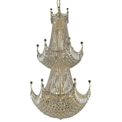 Kasha 36-Light Crystal Chandelier Finish: Gold, Crystal Trim: Strass Swarovski