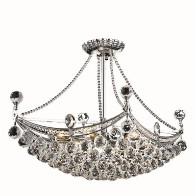 Kasha 6-Light Crystal Chandelier Finish: Chrome, Crystal Trim: Royal Cut