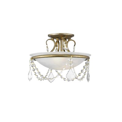 Izidora 2-Light Semi Flush Mount Size: 11 H x 20 W, Finish: Antique Gold Leaf