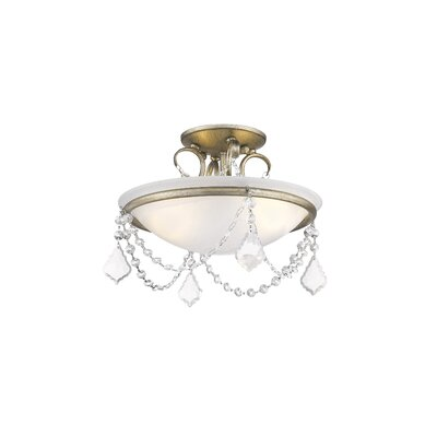 Izidora 2-Light Semi Flush Mount Size: 11 H x 20 W, Finish: Antique Silver Leaf